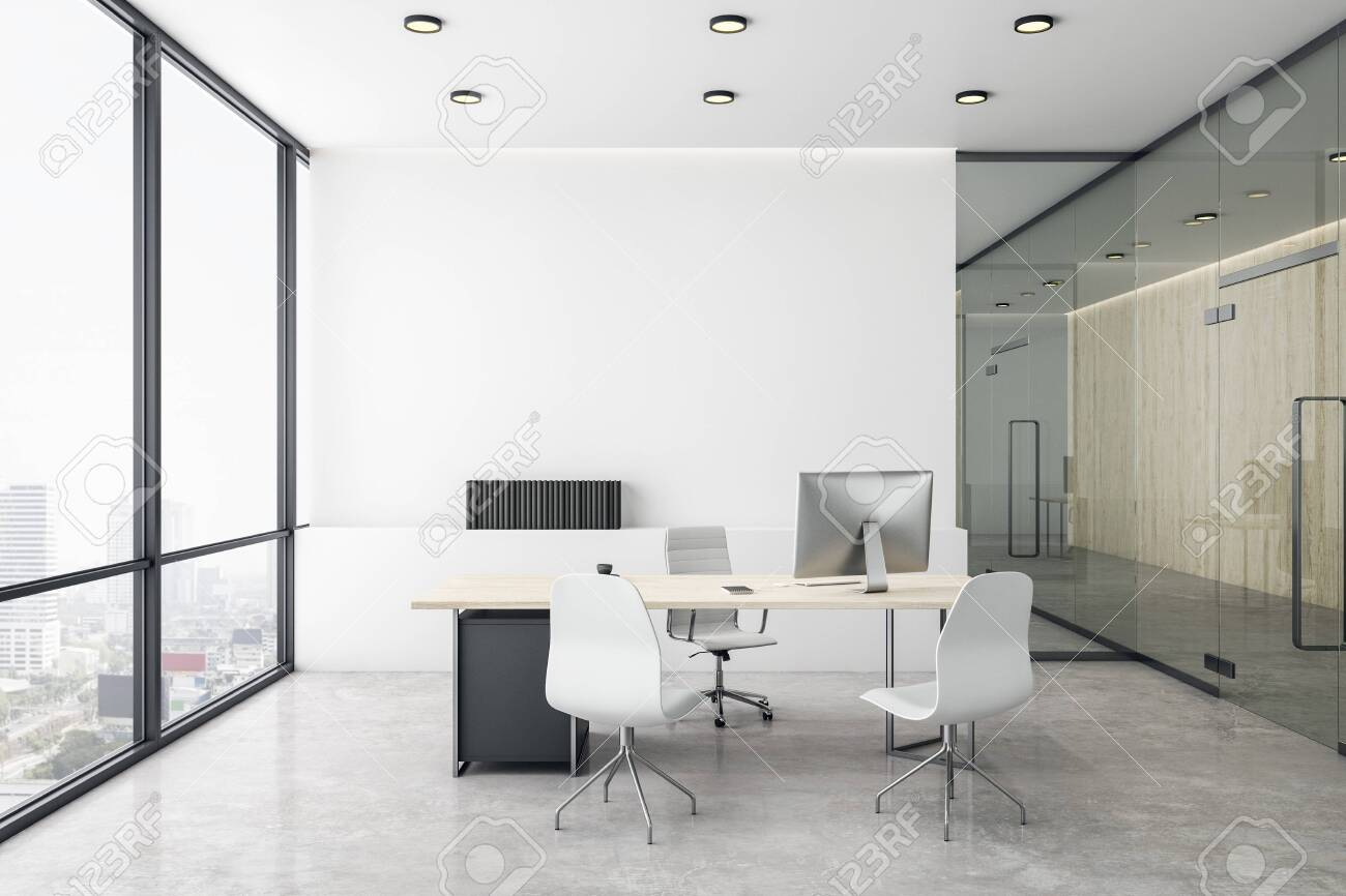 Luxury director's office with white concrete floor and bright city view. 3D Rendering - 136935407