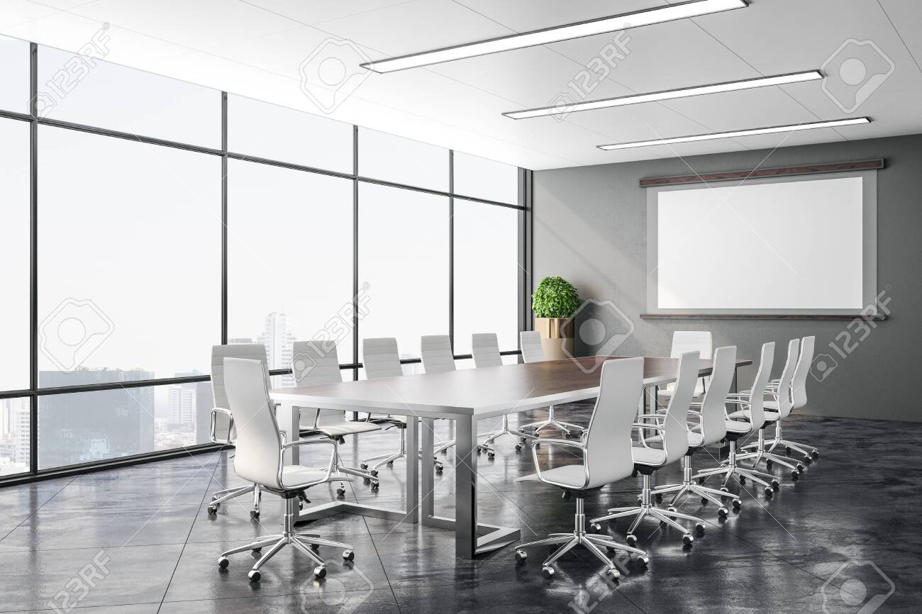 Modern conference office room with city view and screen for projector on wall. Business presentation concept. 3D Rendering - 139246827