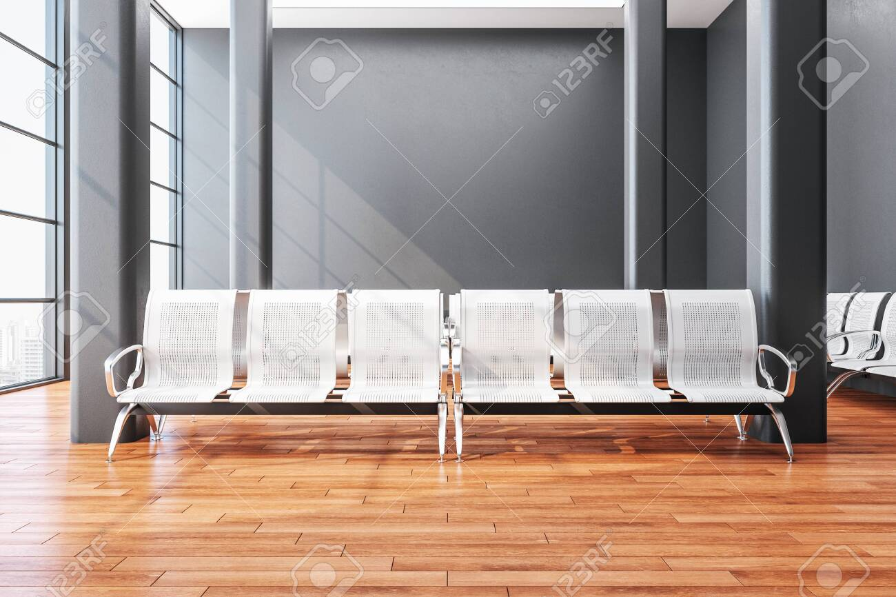 Contemporary airport waiting room with chair and blank gray wall. Lounge and travel concept. Close up. 3D Rendering - 141283682