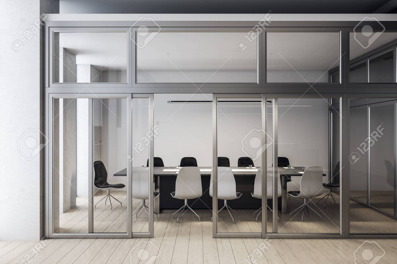 Modern meeting room interior with blank white wall. Workplace and corporate concept. 3D Rendering - 141772161