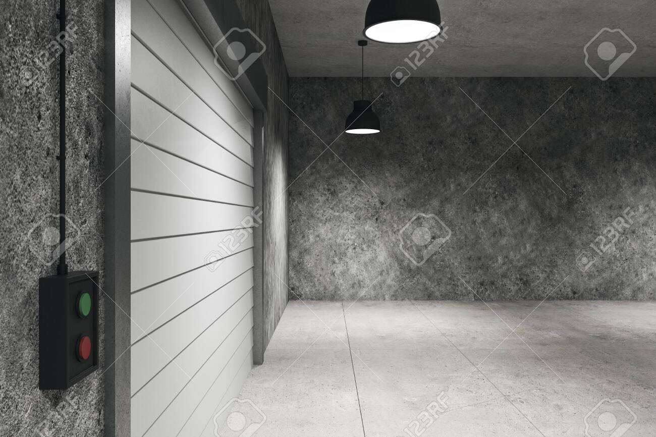 Concrete warehouse interior with lamps on ceiling and rolling gates. 3D Rendering