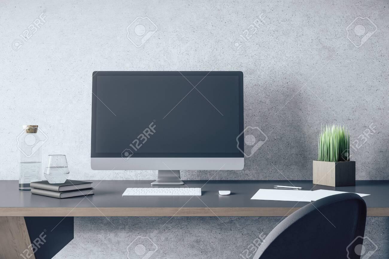 Stylish Designer Desktop With Empty Computer Screen And Accessories On Wooden Office Desk Mock Up 3d Rendering Fotos Retratos Imagenes Y Fotografia De Archivo Libres De Derecho Image 147172952