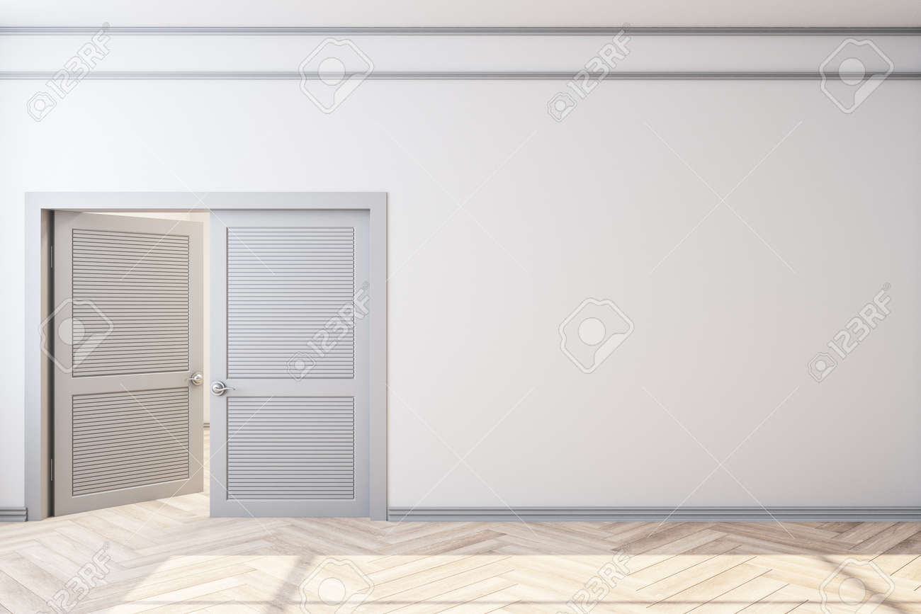 Modern home interior with door and empty white wall. Art and design concept. Mock up, 3D Rendering - 148129494