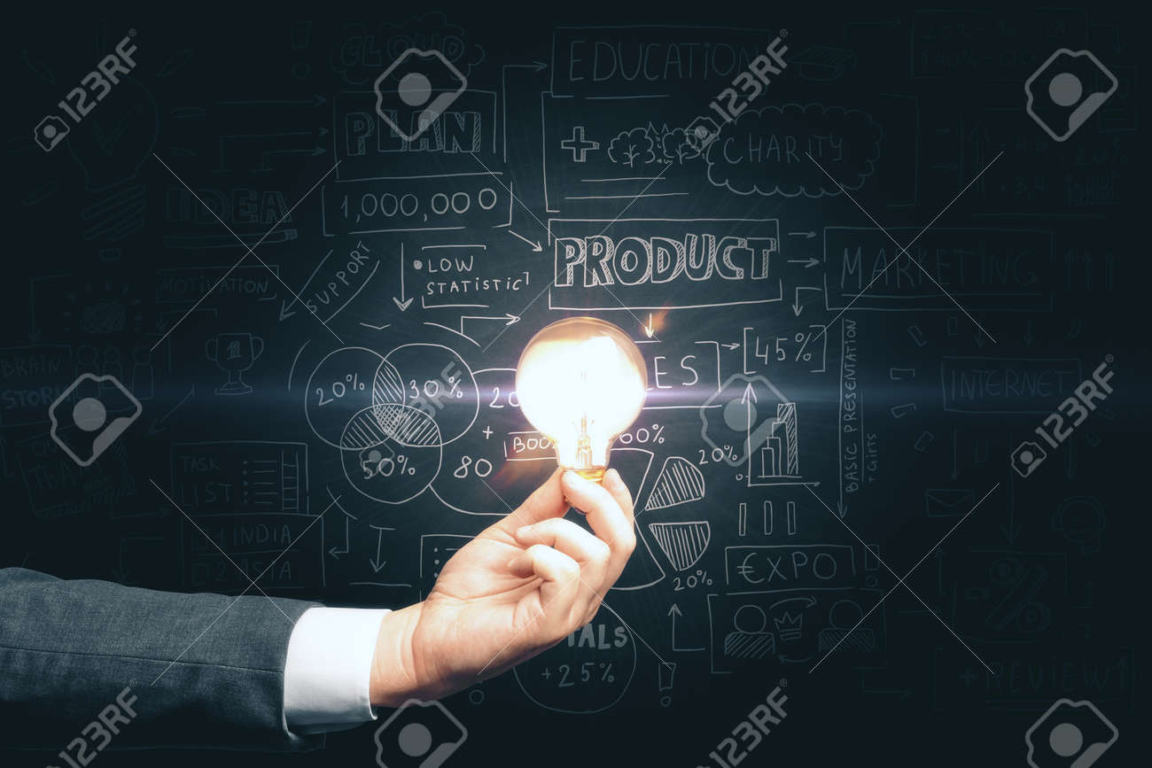 Businessman hand holding light bulb and drawing global business marketing plan. Trade and business analysis concept. - 148767267