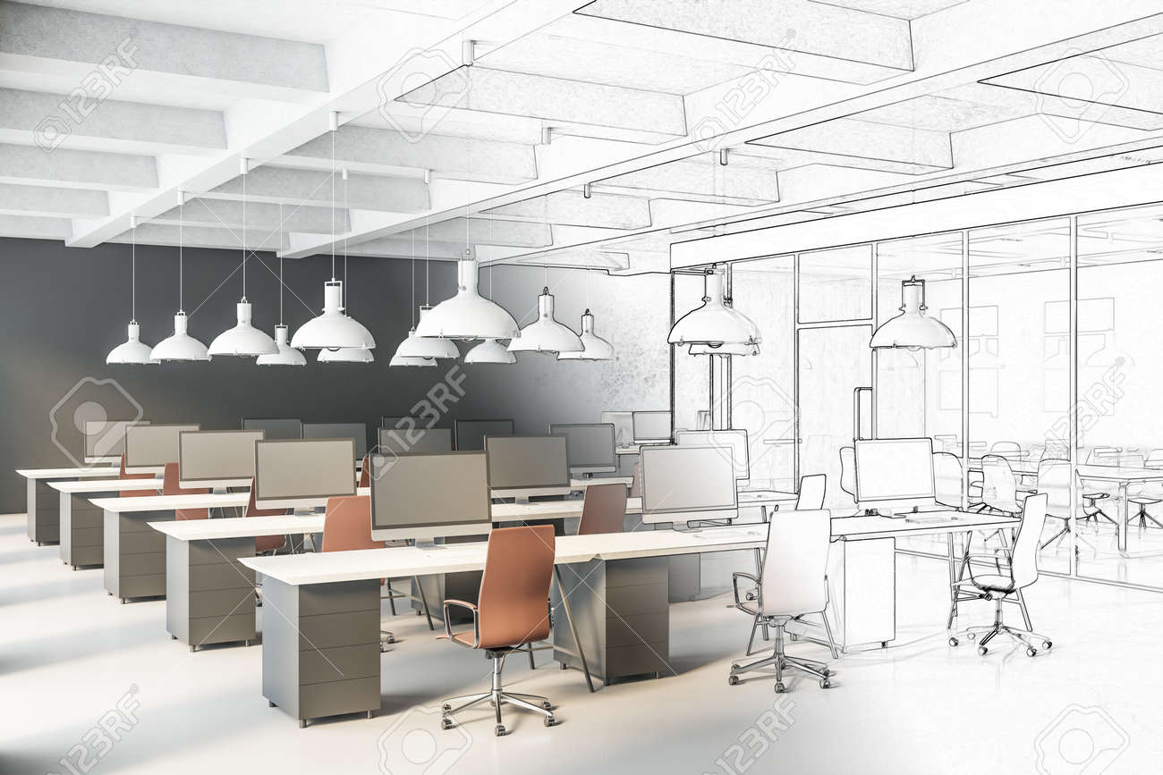 Drawing office space with tables and chairs, computers and office supplies. Workplace and corporate concept. 3D Rendering - 150812608