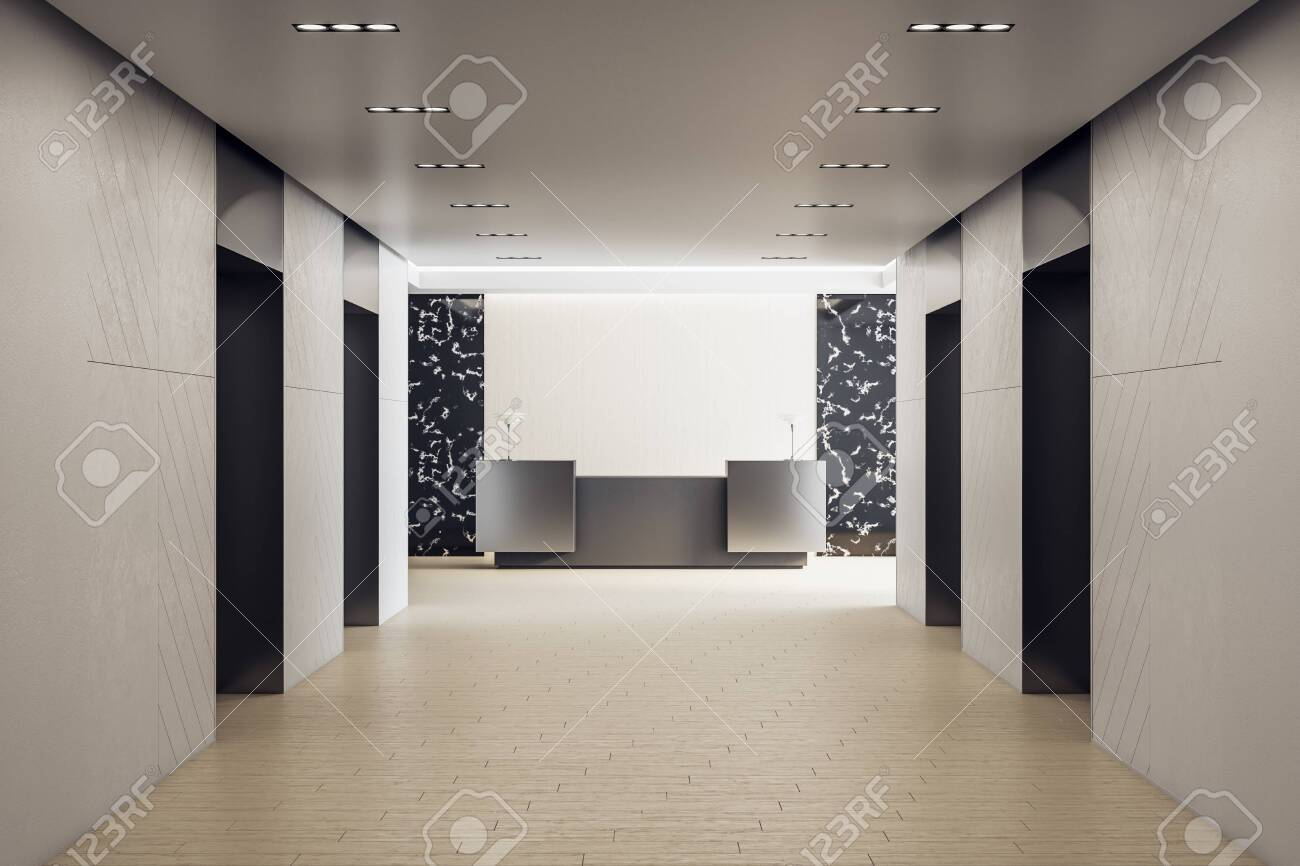 Contemporary hotel hall with reception table. Workplace and corporate concept. Mock up, 3D Rendering - 151030790