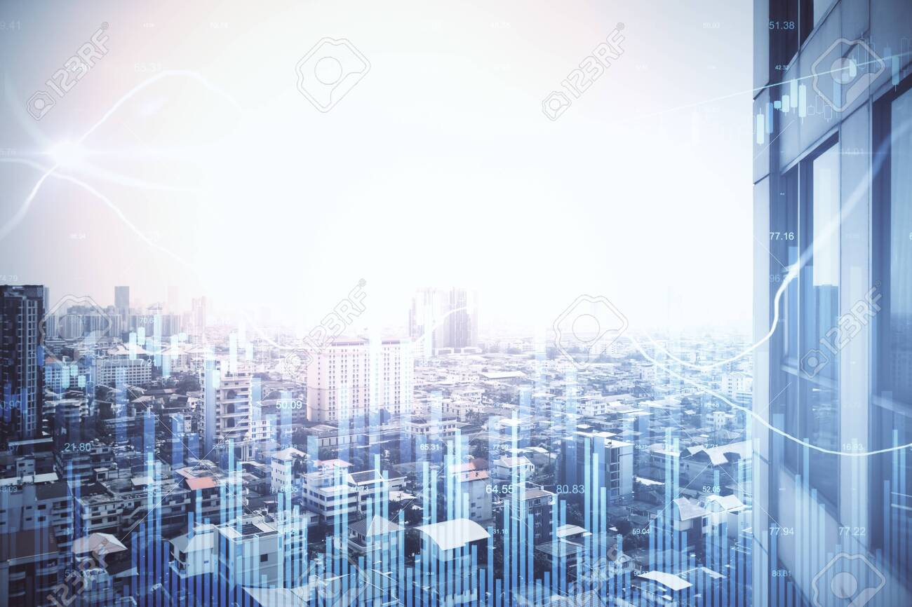 Growing stock chart with business statistics on blurry city background. Trade and investment concept. Multiexposure - 154526938