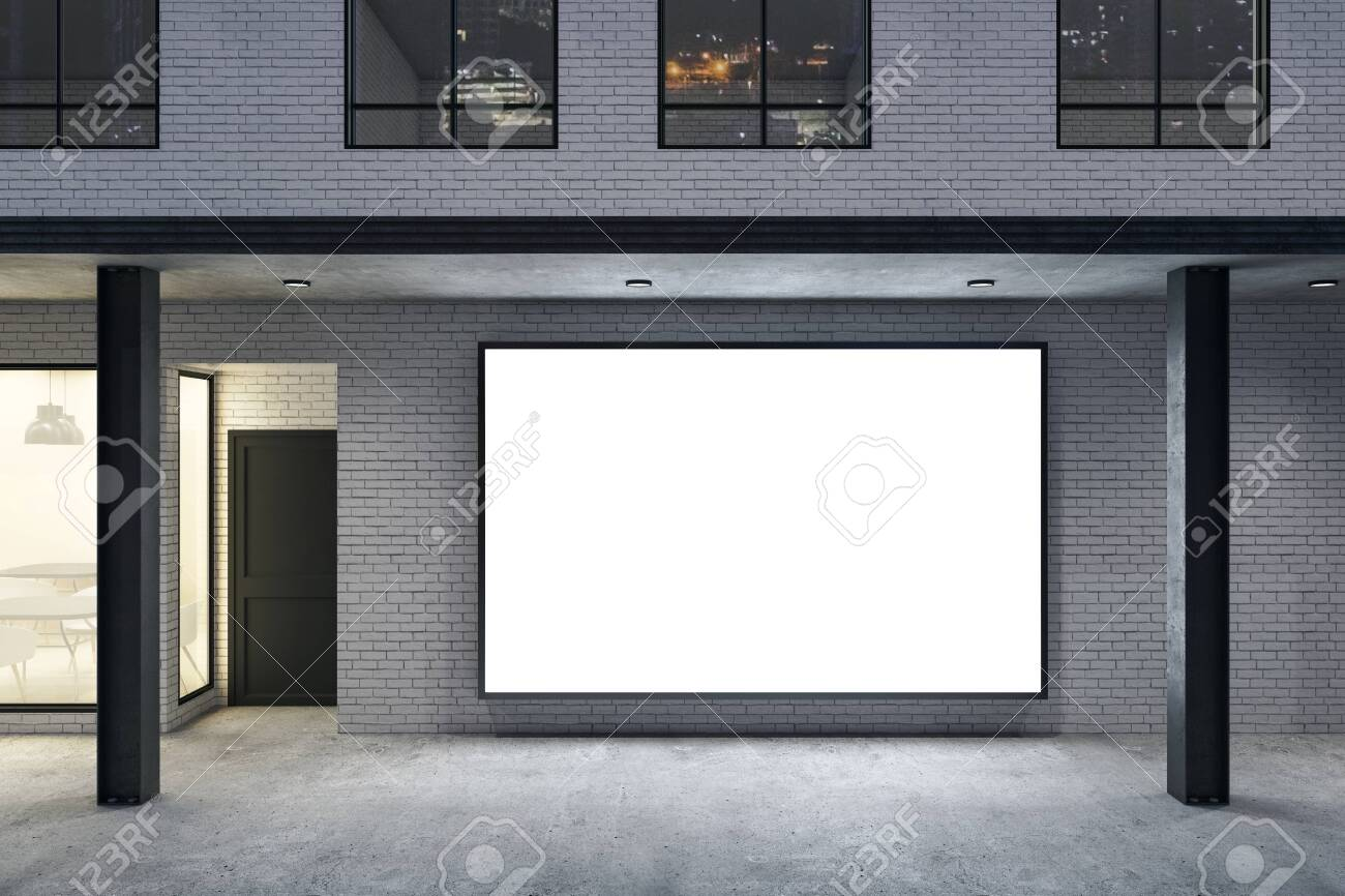 Store with blank poster on brick wall and columns. Advertisement and retail concept. Mock up, 3D Rendering - 157361090