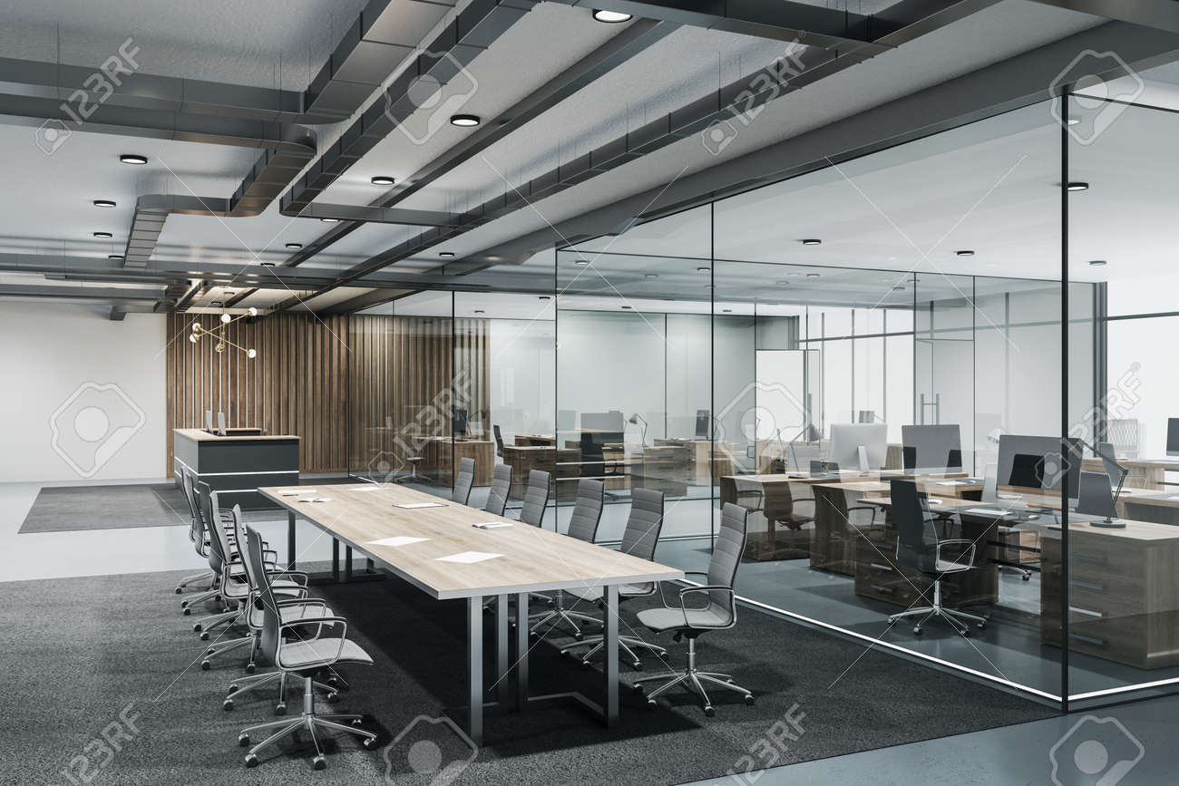 Contemporary conference loft room with reception, meeting table and glass wall. Seminar and conference concept. 3D Rendering - 159122252