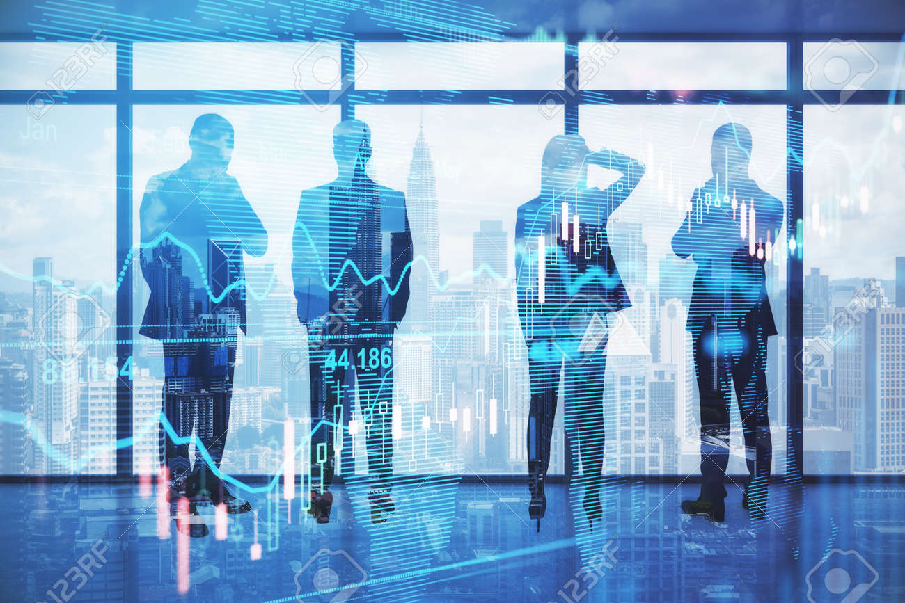 Pensive backlit businesspeople standing in blurry office with forex chart and city view. Meeting and stock market concept. Double exposure - 169881144