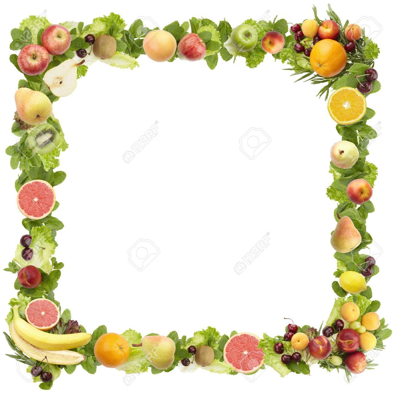Der Rahmen Aus Obst Auf Weißem Hintergrund Lizenzfreie Fotos, Bilder ...