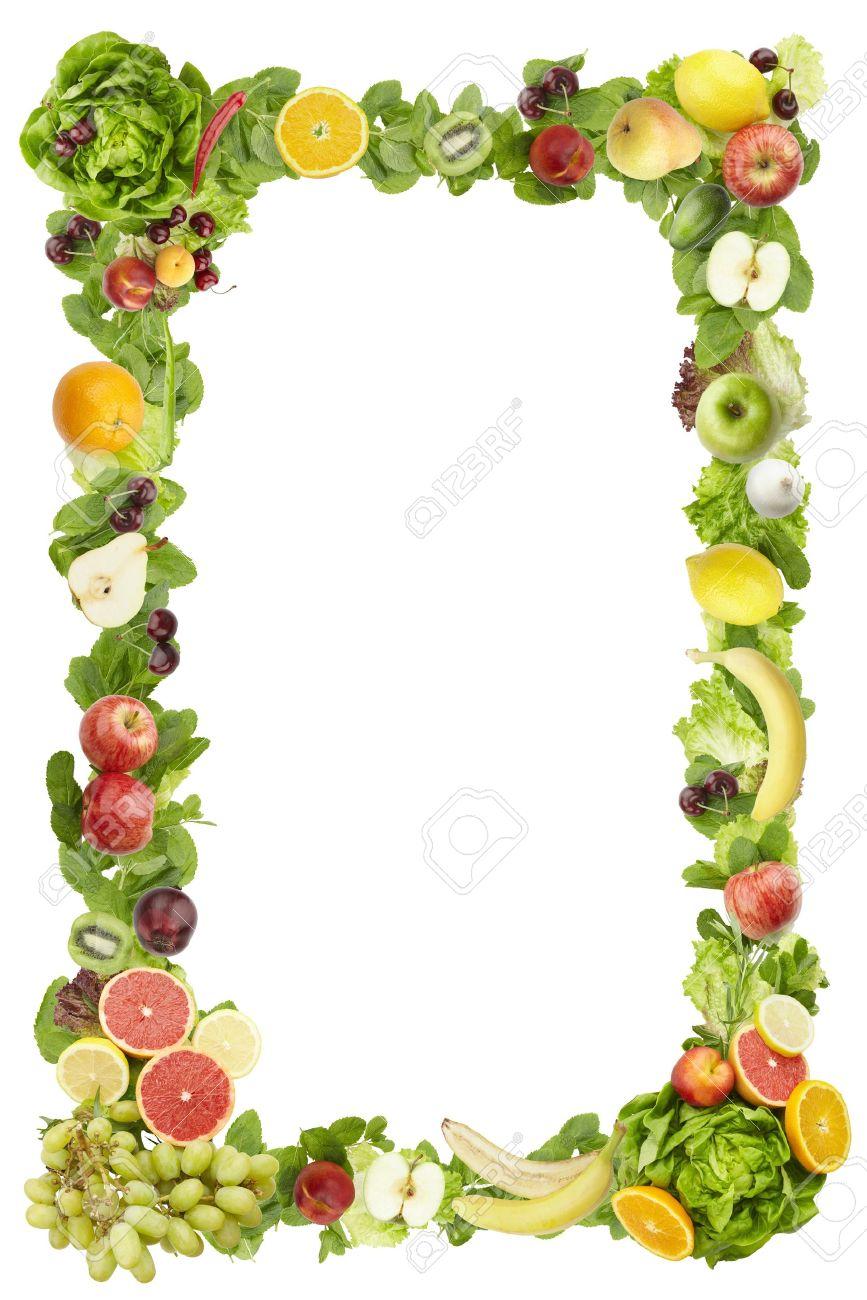 Der Rahmen Von Obst Und Gemüse Auf Einem Weißen Hintergrund Gemacht ...