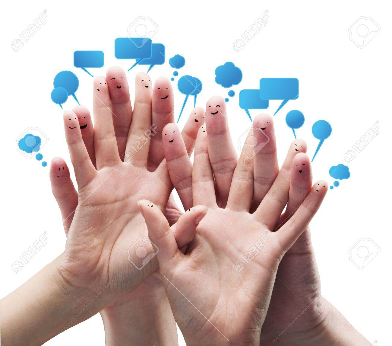 Happy group of finger smileys with social chat sign and speech bubbles.Isolated on a white background Stock Photo - 10285719