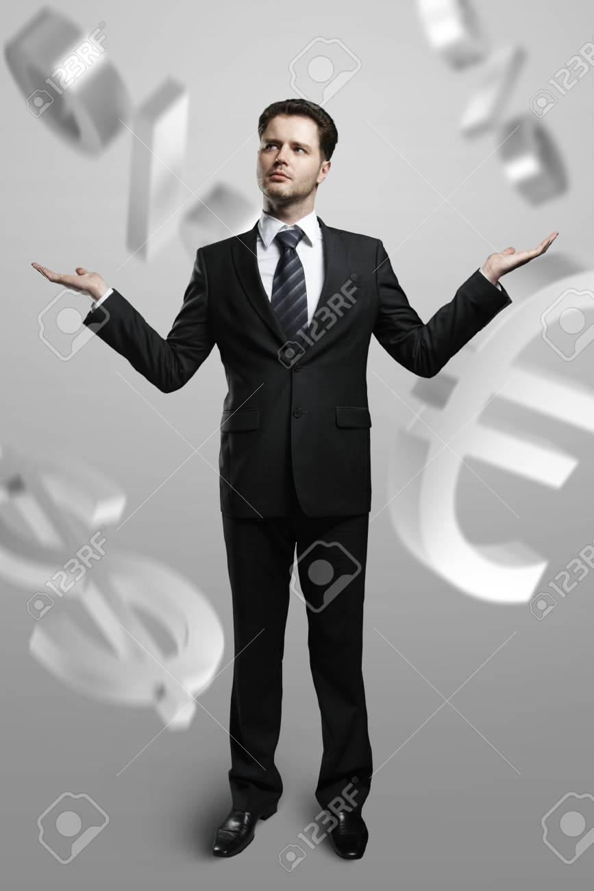 símbolos de moneda y empresario exitosos fotos retratos imágenes y