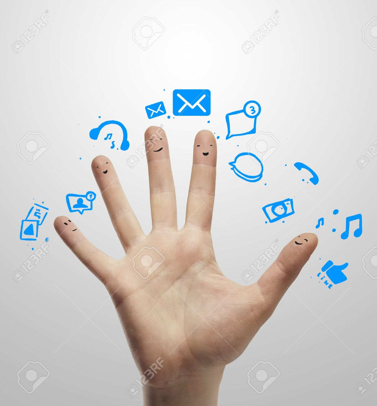 Happy group of finger smileys with social chat sign and speech bubbles,icons  Fingers representing a social network Stock Photo - 13366186