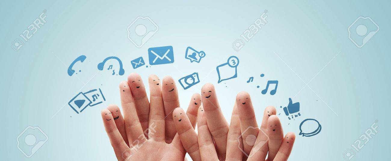 Happy group of finger smileys with social chat sign and speech bubbles,icons  Fingers representing a social network Stock Photo - 13366198