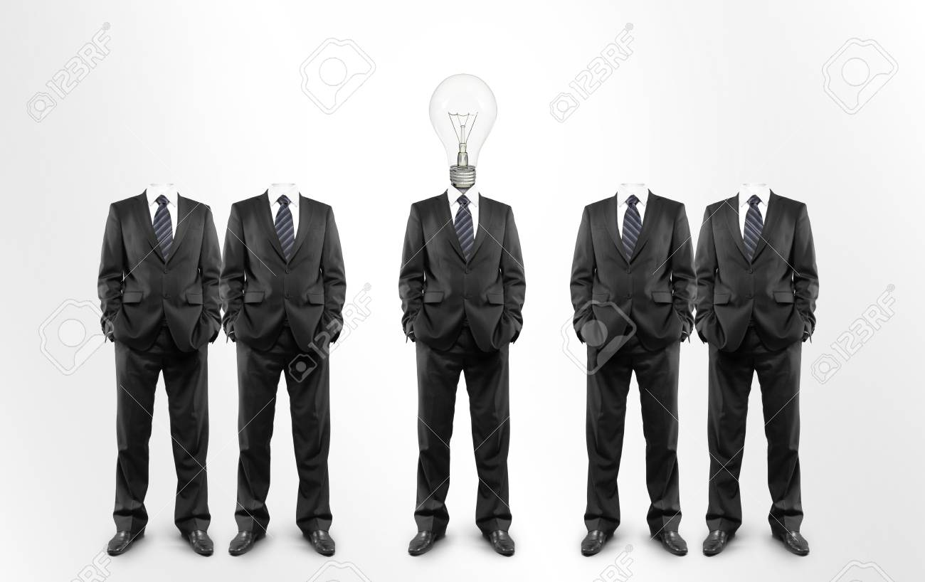 group of men with a lightbulb in  head Stock Photo - 14061956
