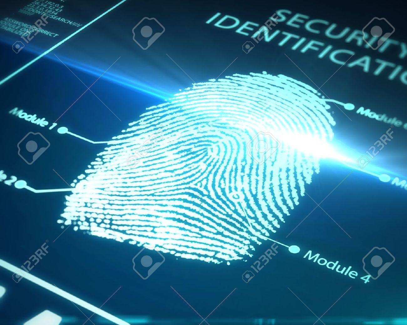 Fingerprint Identification On A Blue Background Stock Photo ...