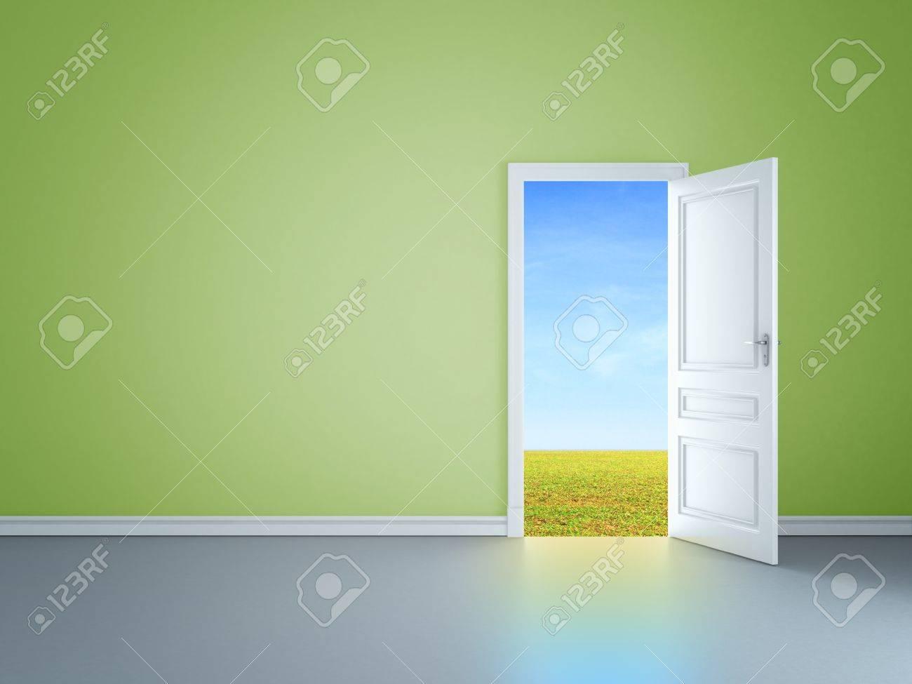 green room with an open door in field Stock Photo - 14206187