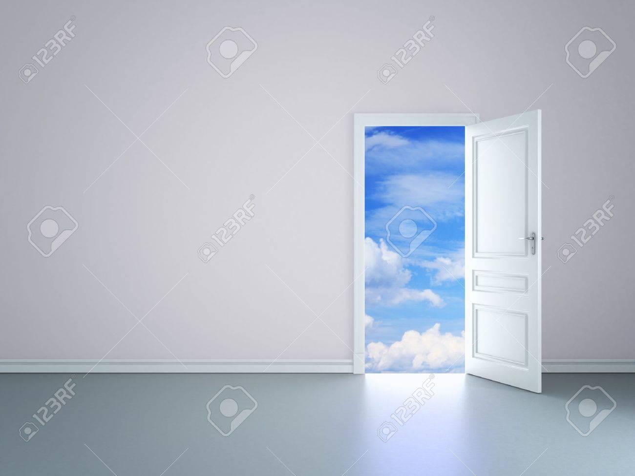 room with an open door in sky Stock Photo - 14206174