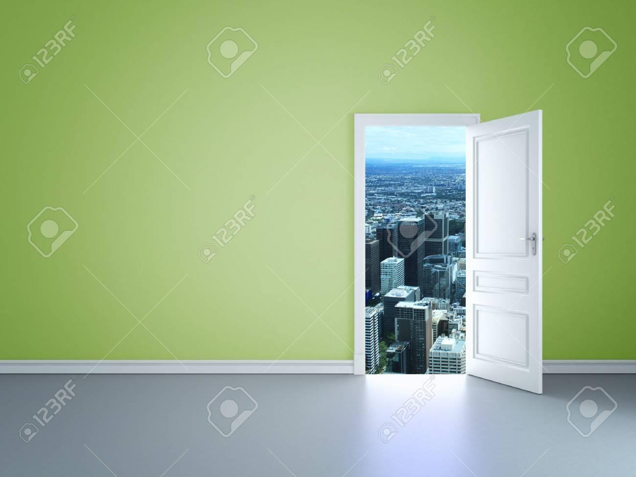 room with an open door to city - 14206141