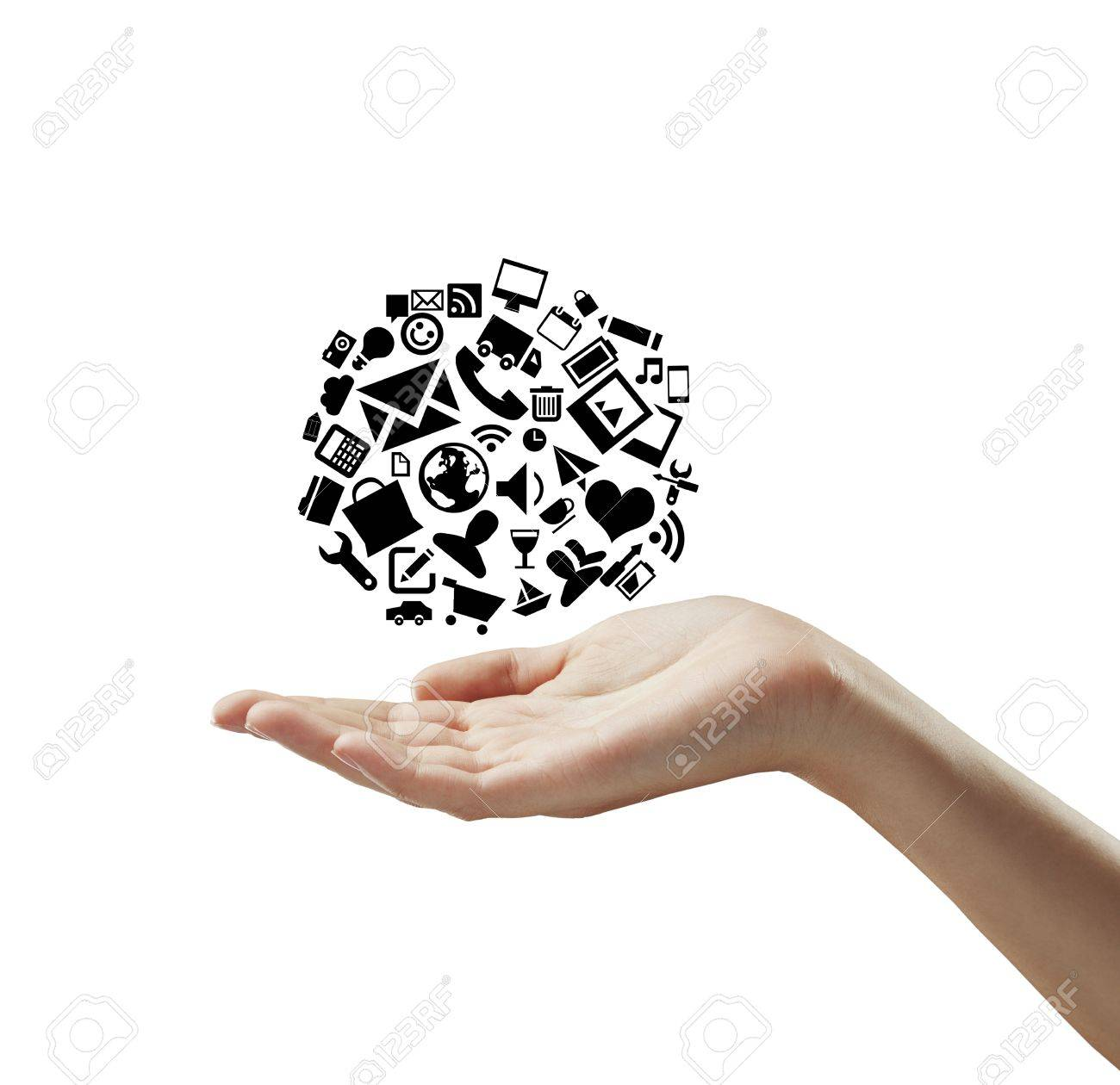 hand holding cloud icons on a white background Stock Photo - 14473338