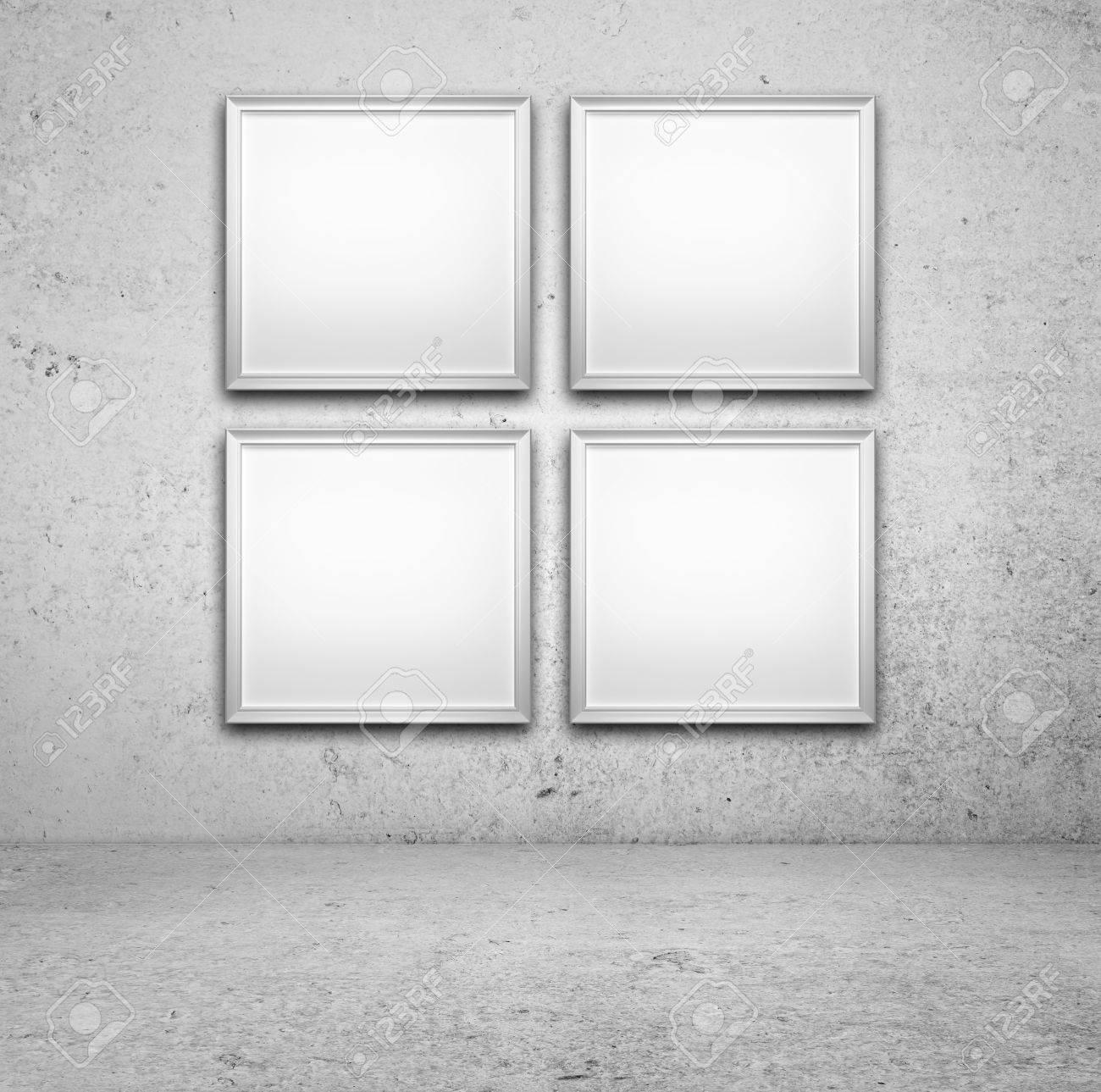 Cuatro Marco En Blanco En Una Pared De Hormigón Fotos, Retratos ...