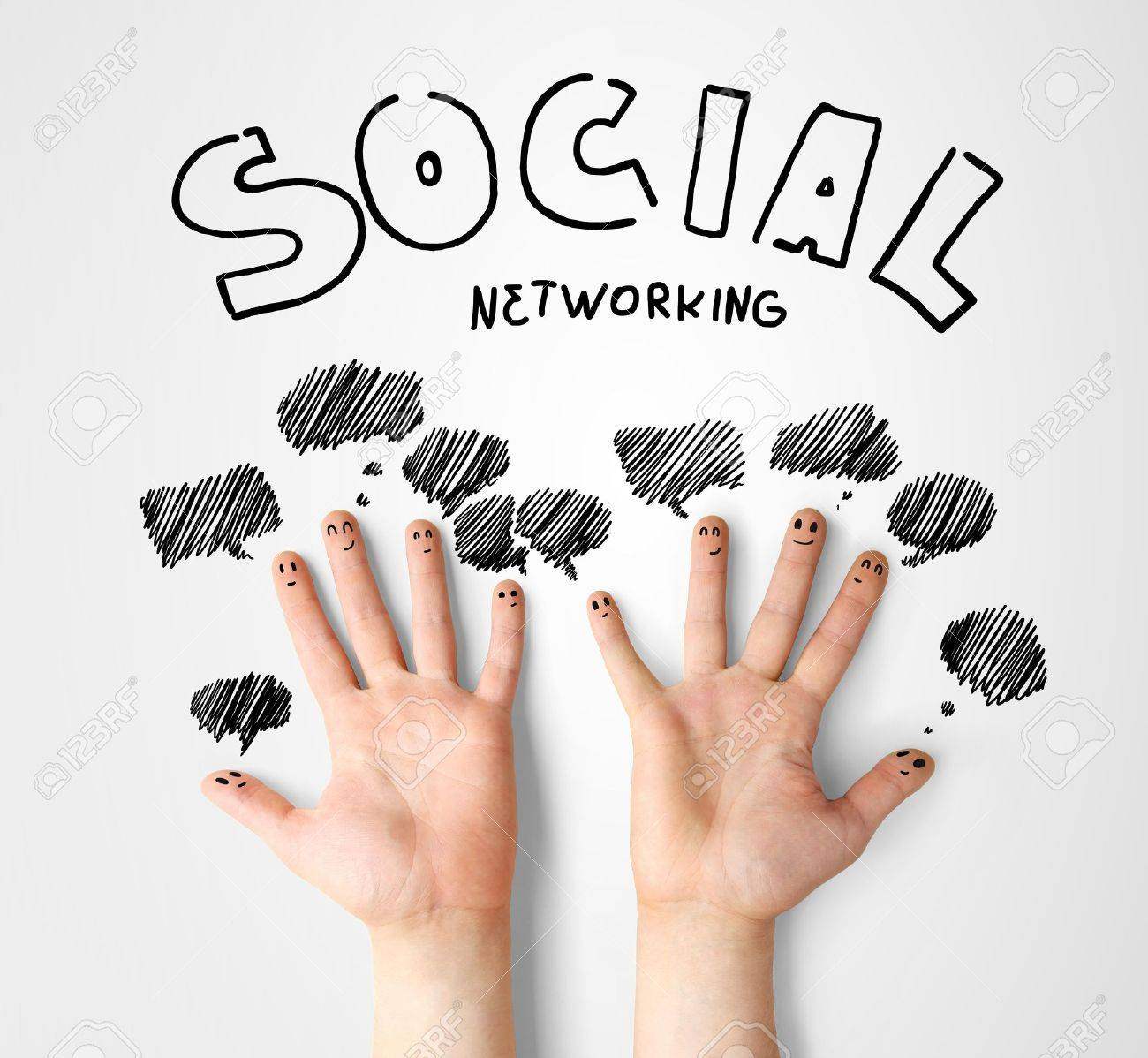 social network, finger smileys with speech bubbles Stock Photo - 14710021