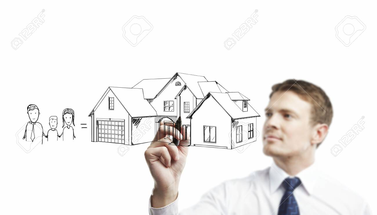 businessman drawing House on a white background Stock Photo - 14710344