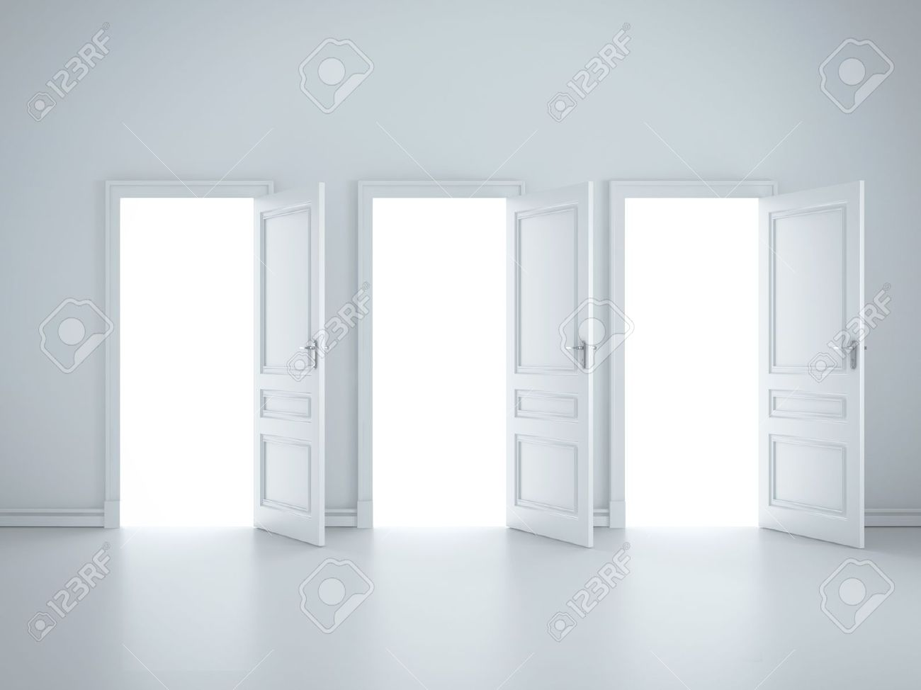 Stock Photo - three open doors in white room & Three Open Doors In White Room Stock Photo Picture And Royalty Free ...