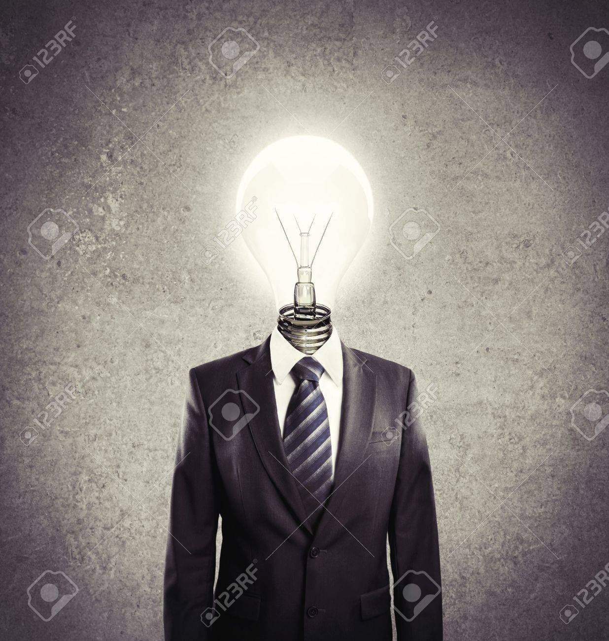 businessman with lamp-head on a white background Stock Photo - 14924104