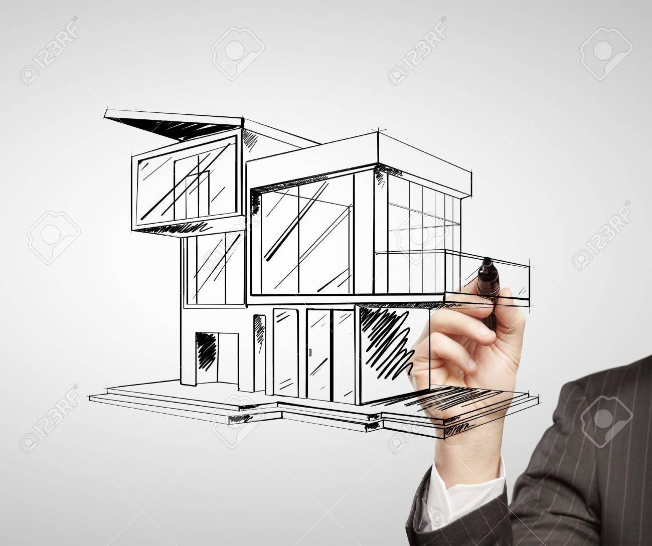 Maison de dessin à main moderne sur un fond blanc