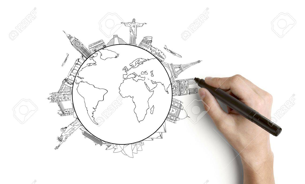 hand drawing earth on a white background