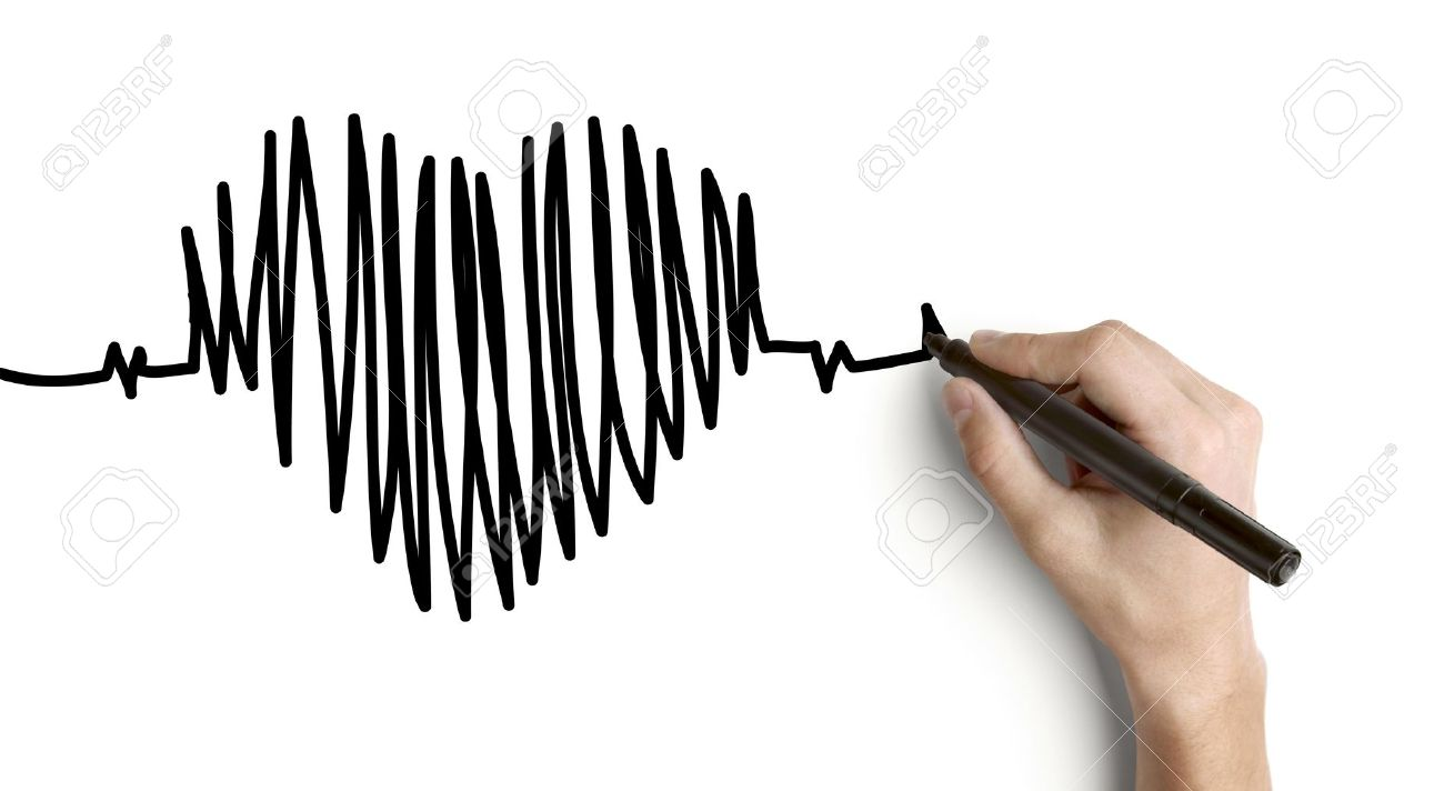 Hand Drawing Heartbeat On A White Background Stock Photo Picture
