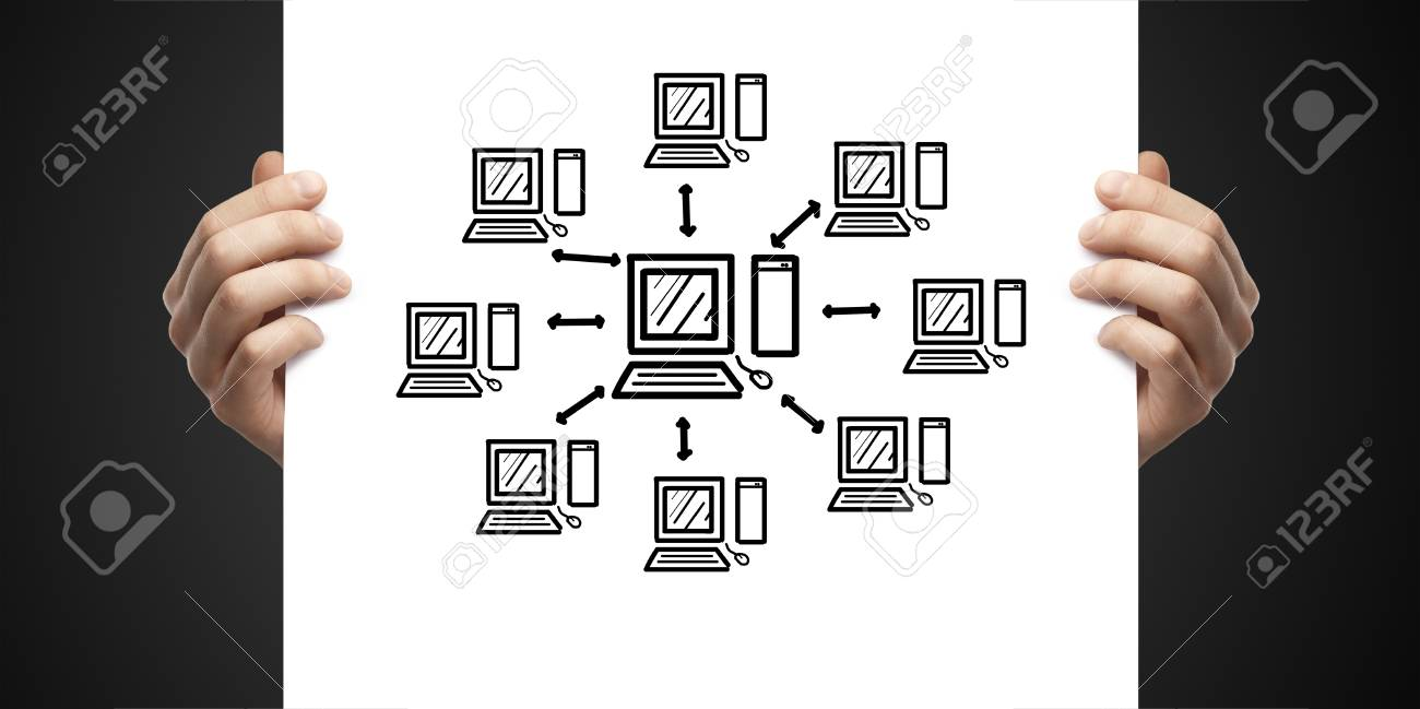 holds poster computer network on a white background Stock Photo - 14924485