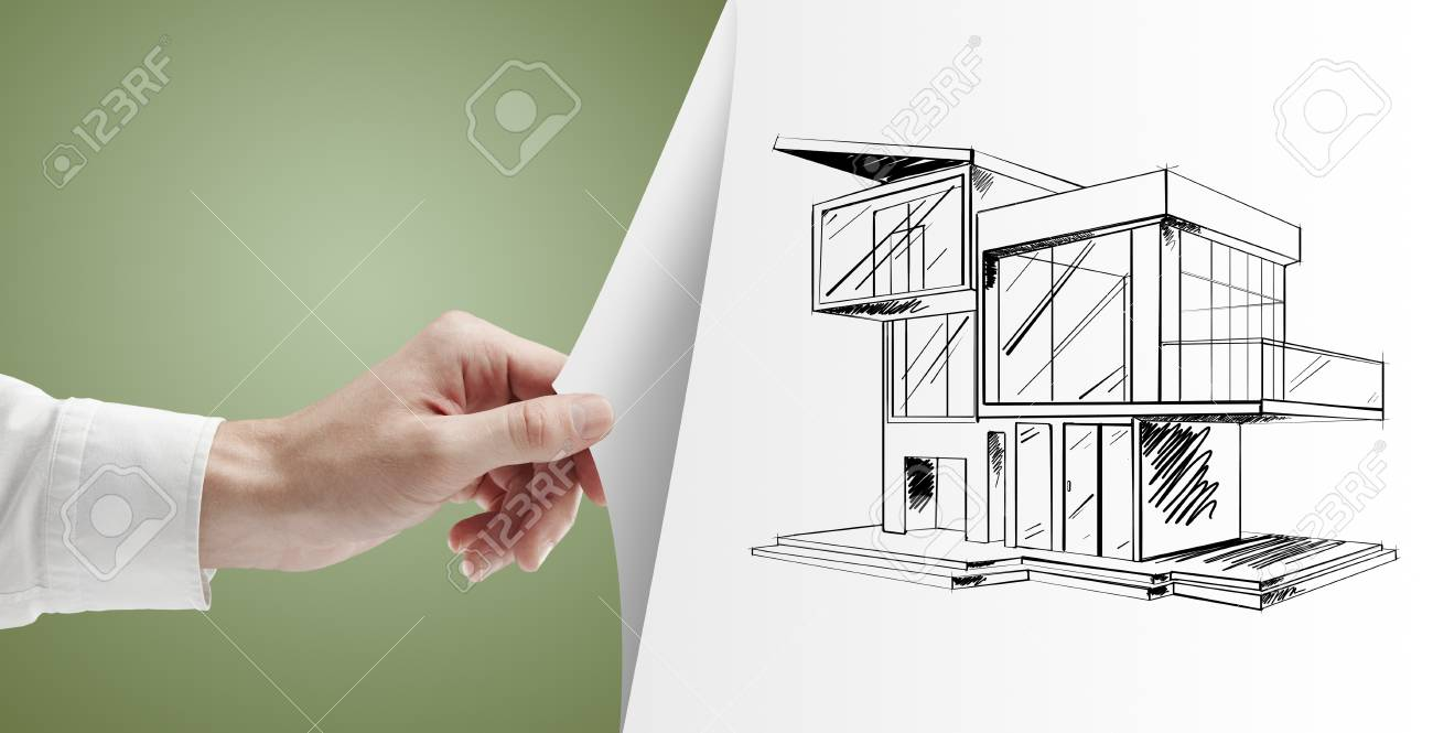 men hand turns green page with cottage Stock Photo - 14924537