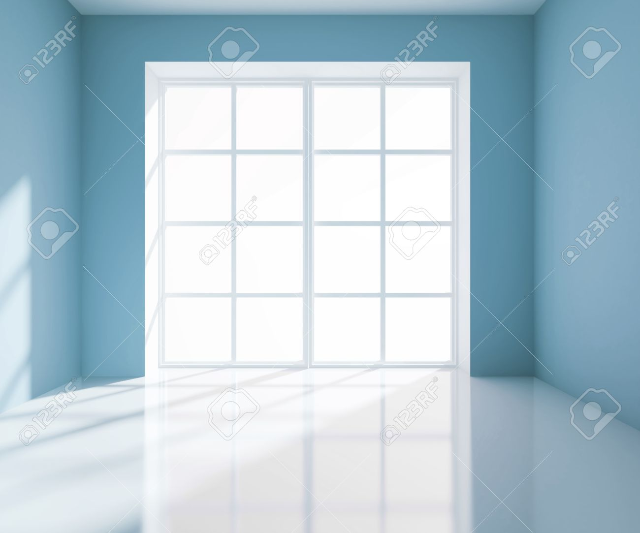 empty light blue room with white window stock photo, picture and
