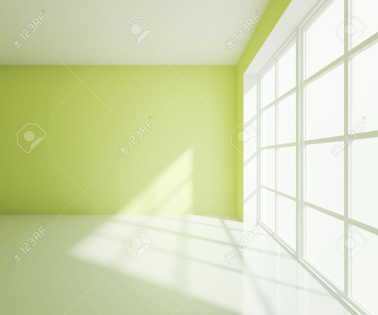 Light Green Paint empty light green room with white window stock photo, picture and