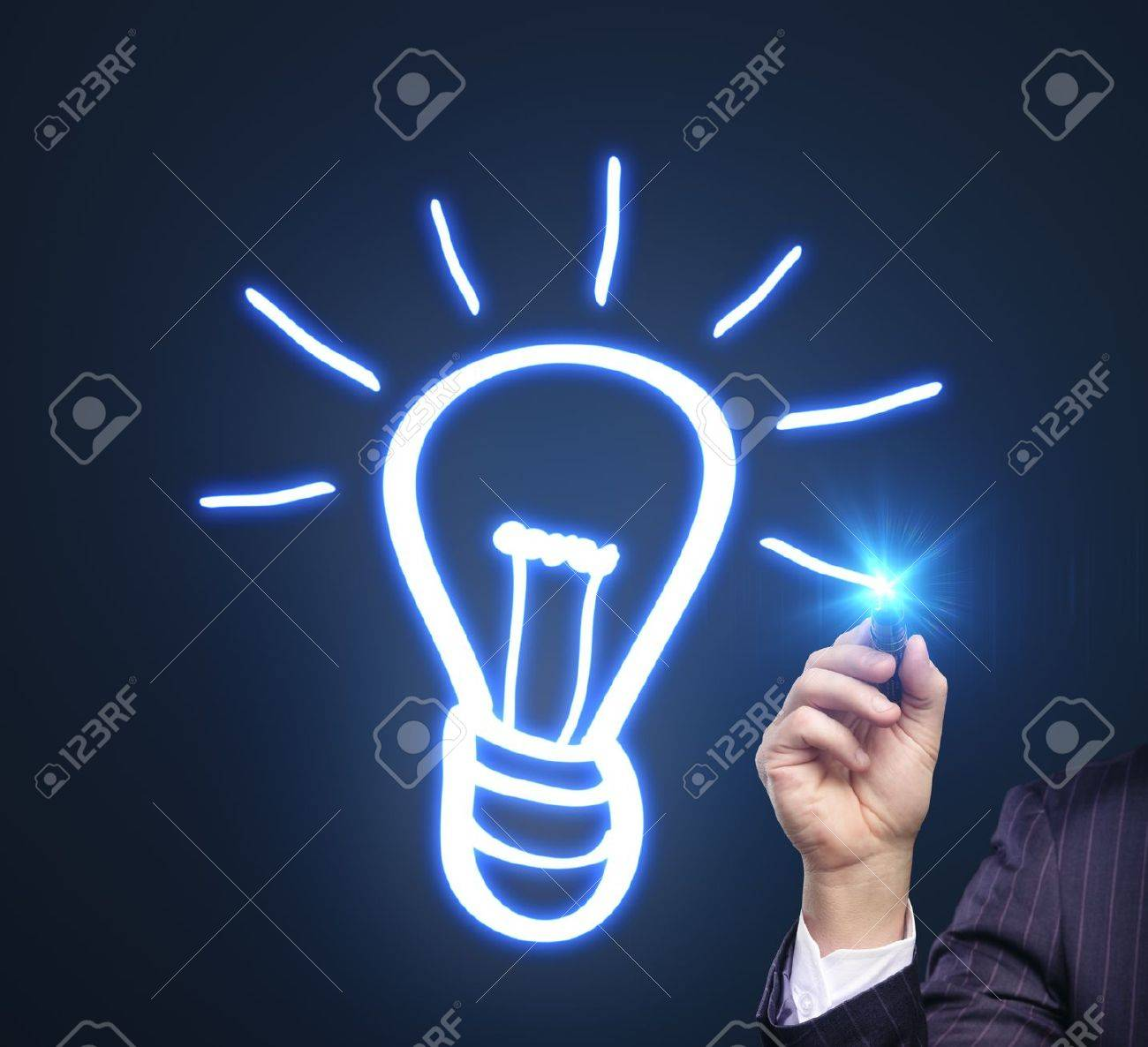 hand drawing lamp on a blue background Stock Photo - 15507863