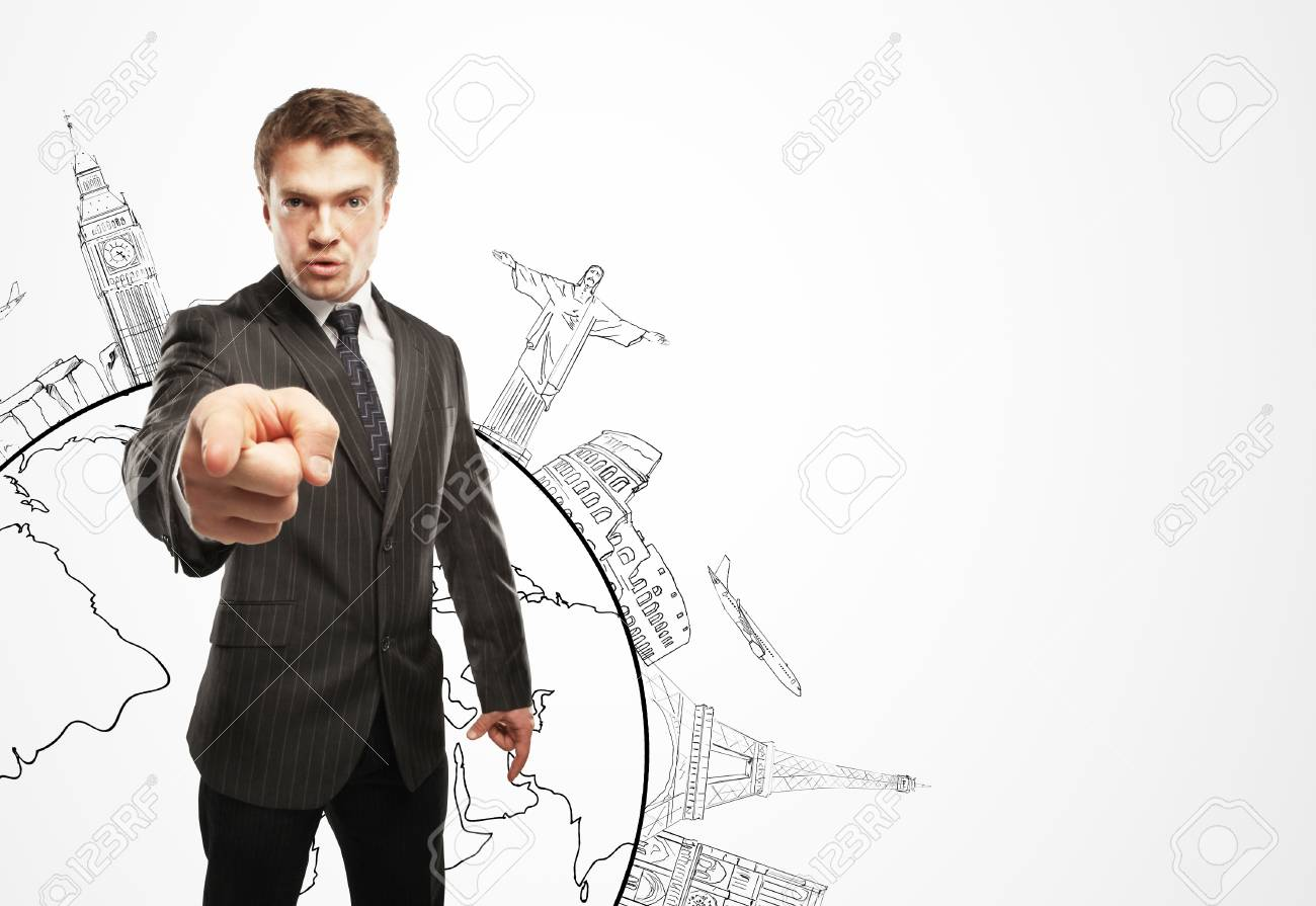 man points finger, business concept Stock Photo - 16010452