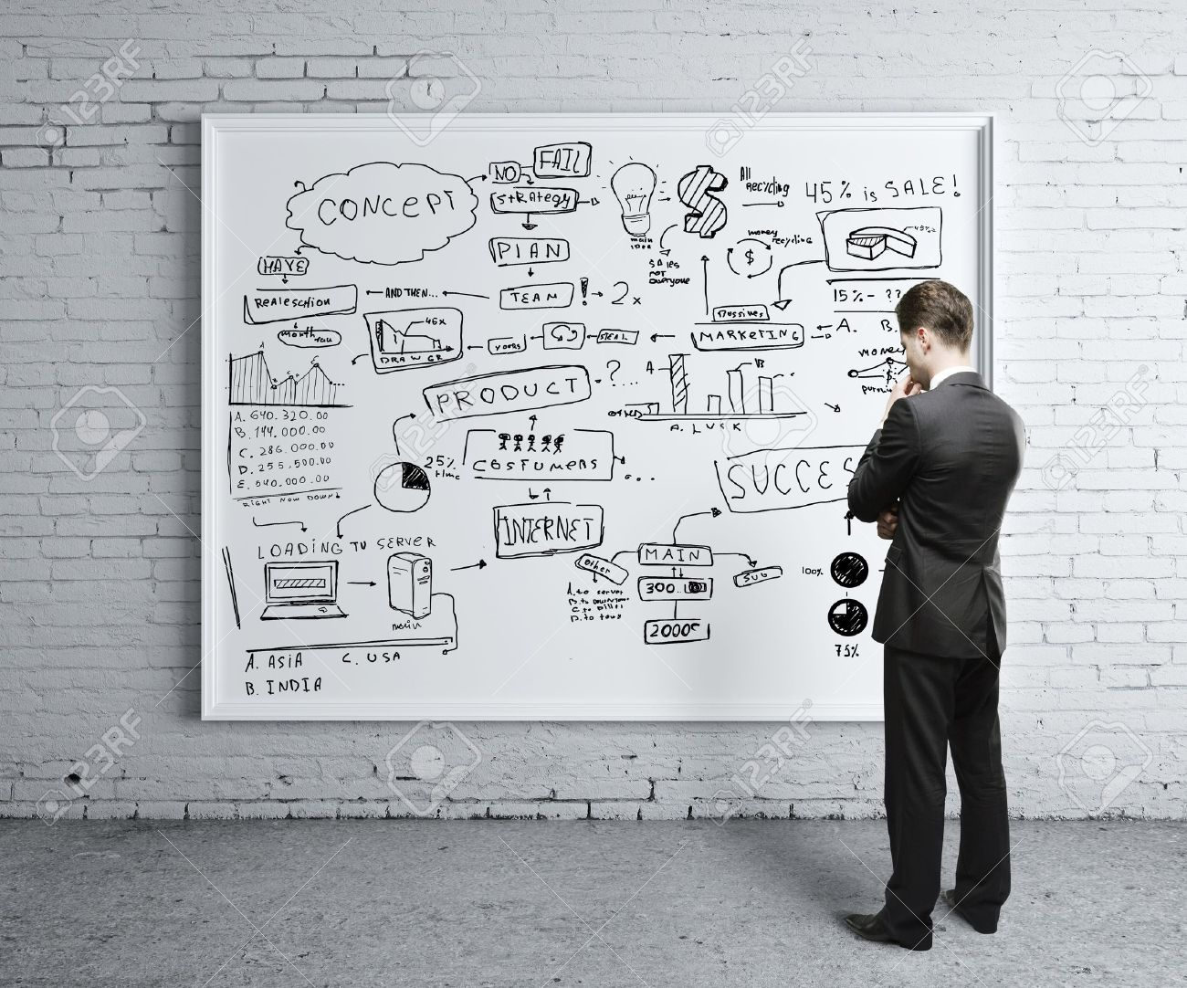 man looking at business strategy on board Stock Photo - 16032496
