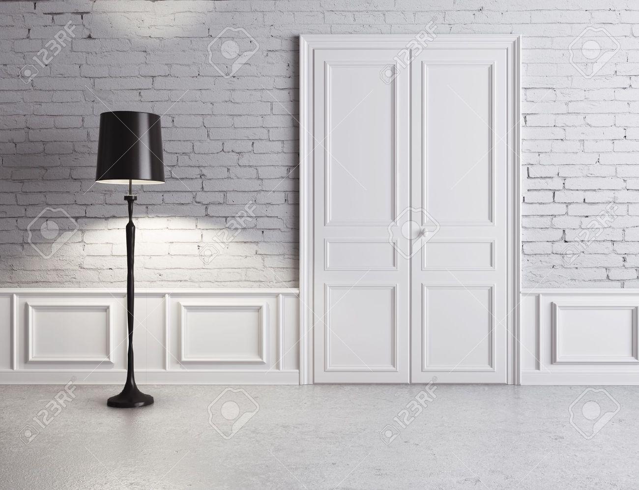 white door and lamp luxury interior stock photo 16189125