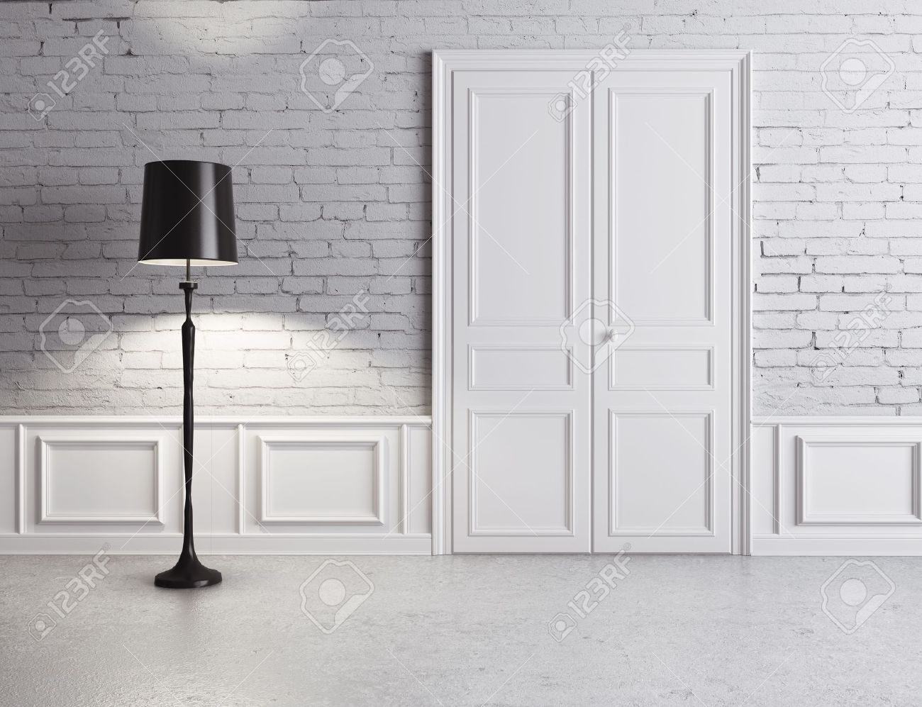 white door and l& luxury interior Stock Photo - 16189125 & White Door And Lamp Luxury Interior Stock Photo Picture And ...