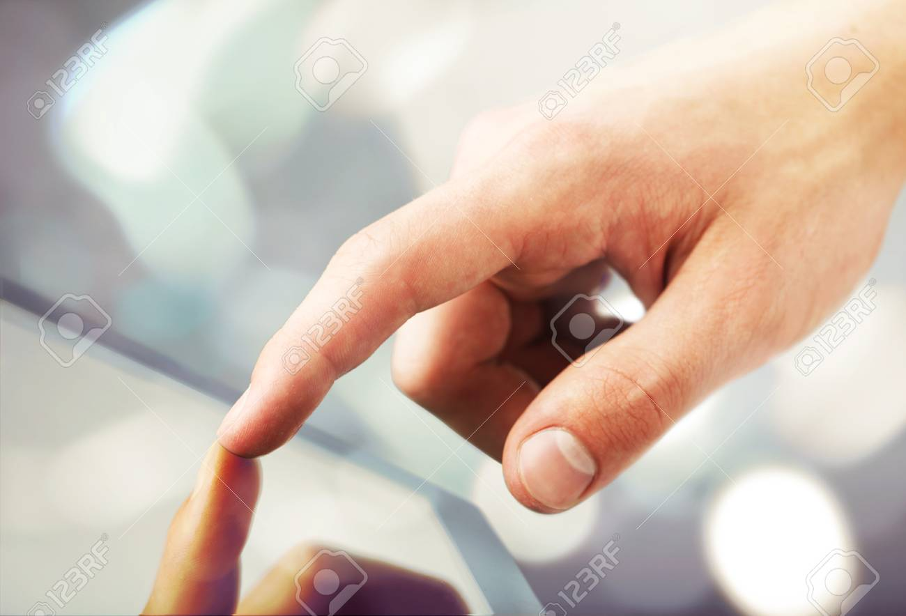 high resolution  hand touching digital tablet Stock Photo - 16292489