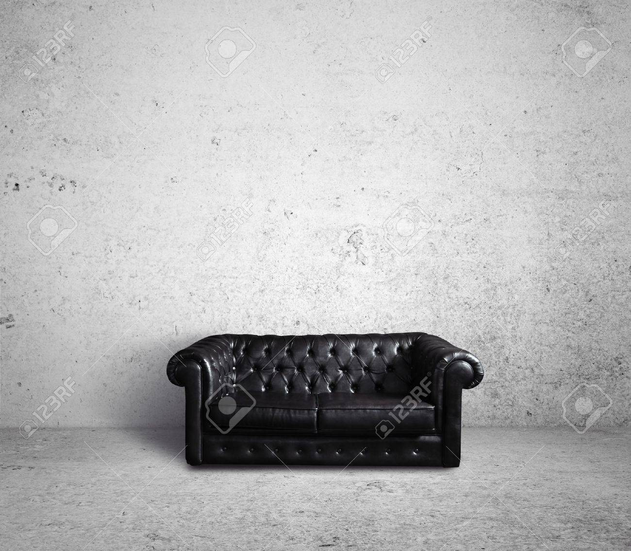 leather sofa in concrete room Stock Photo - 16293023