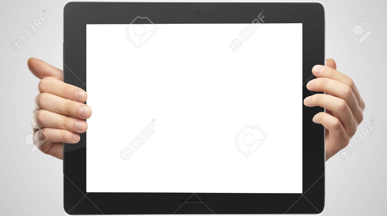 hands holding tablet on white background Stock Photo - 16292291