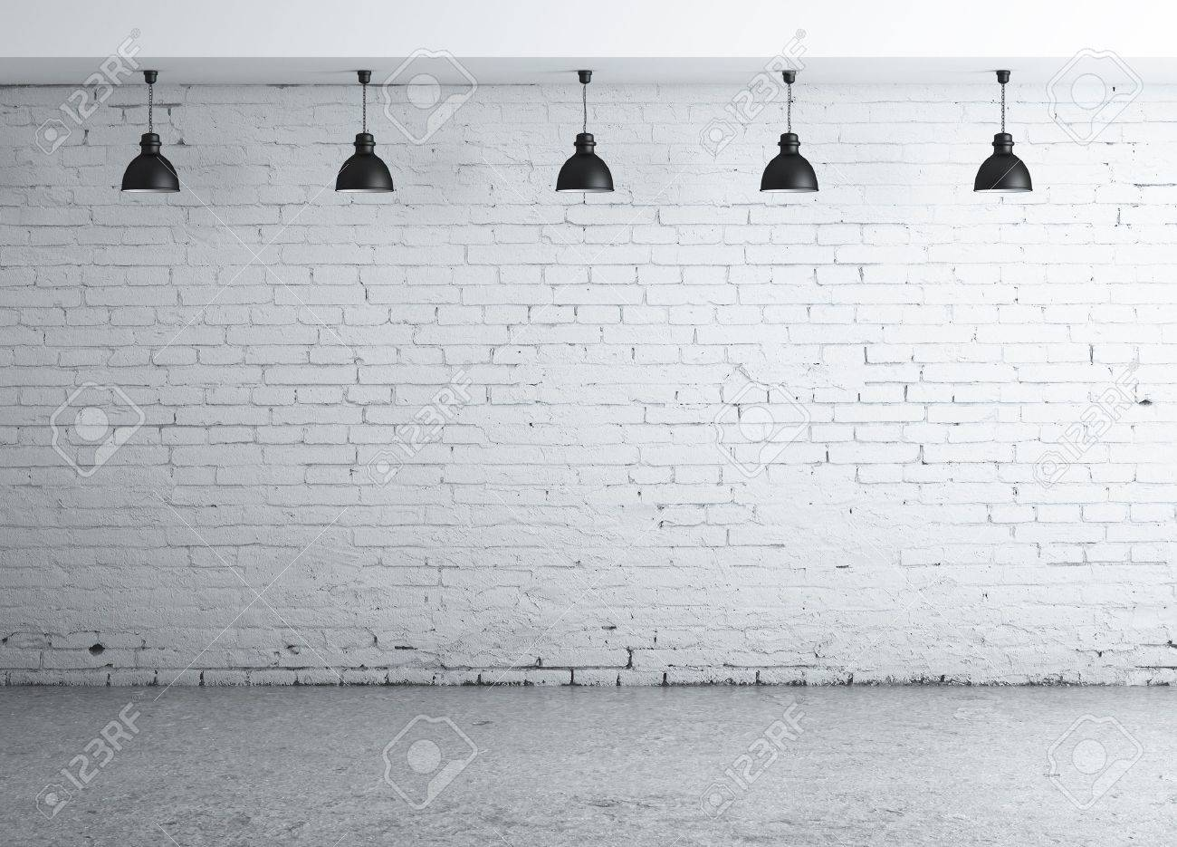 brick concrete room with five ceiling lamps Stock Photo - 16700267