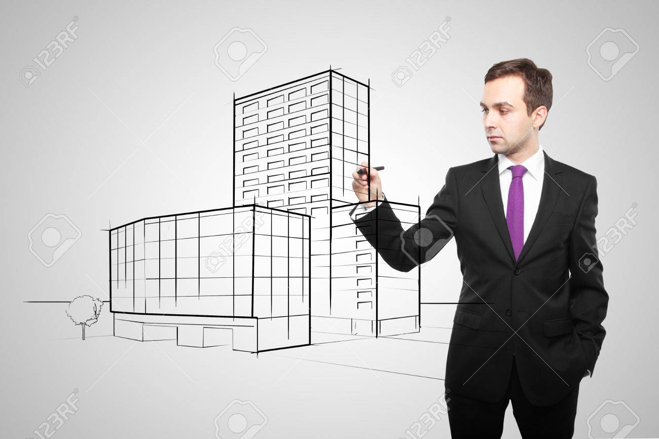 man drawing skyscraper on white background Stock Photo - 16883218
