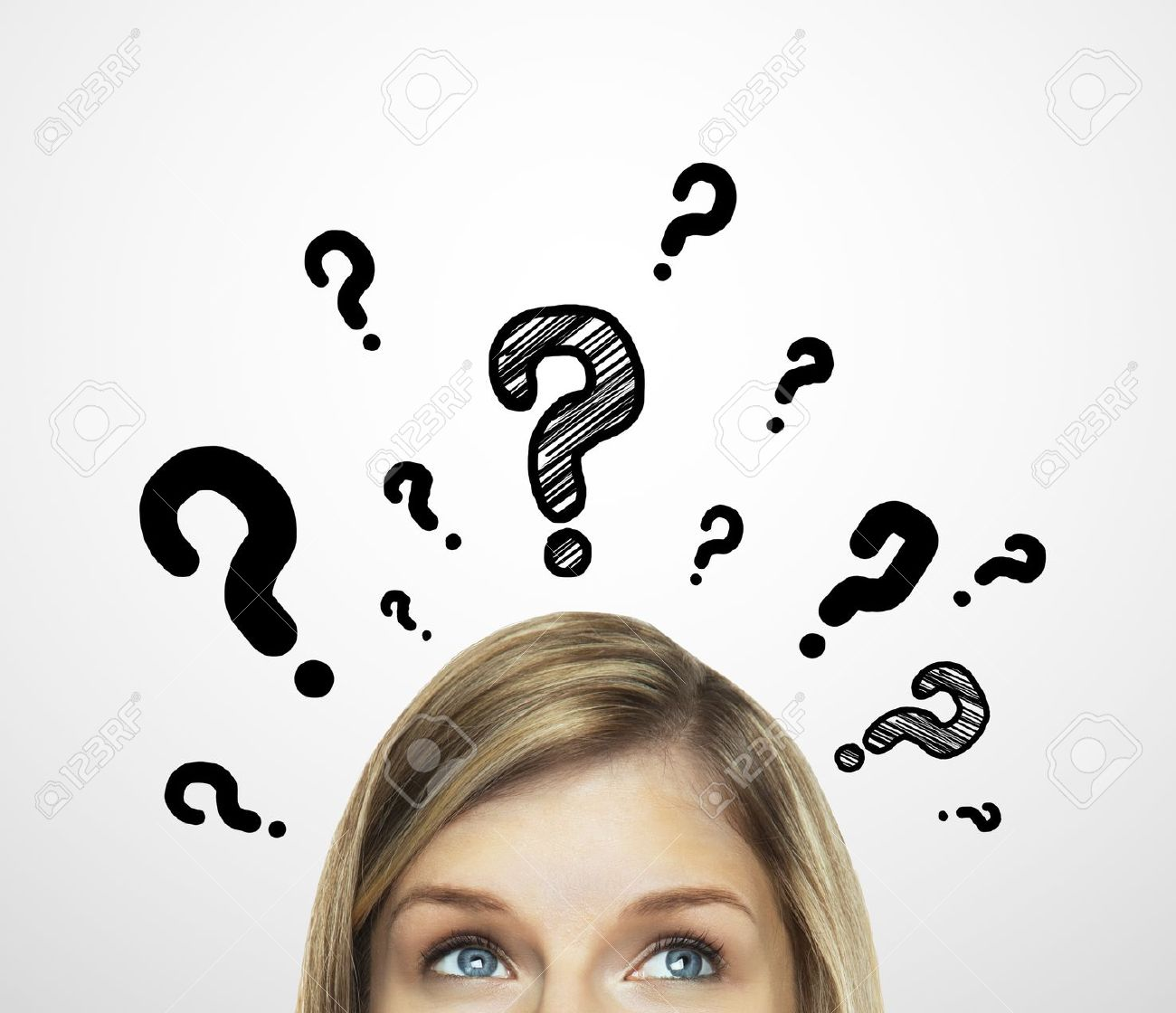 thinking women with question mark on white background Stock Photo - 16883291