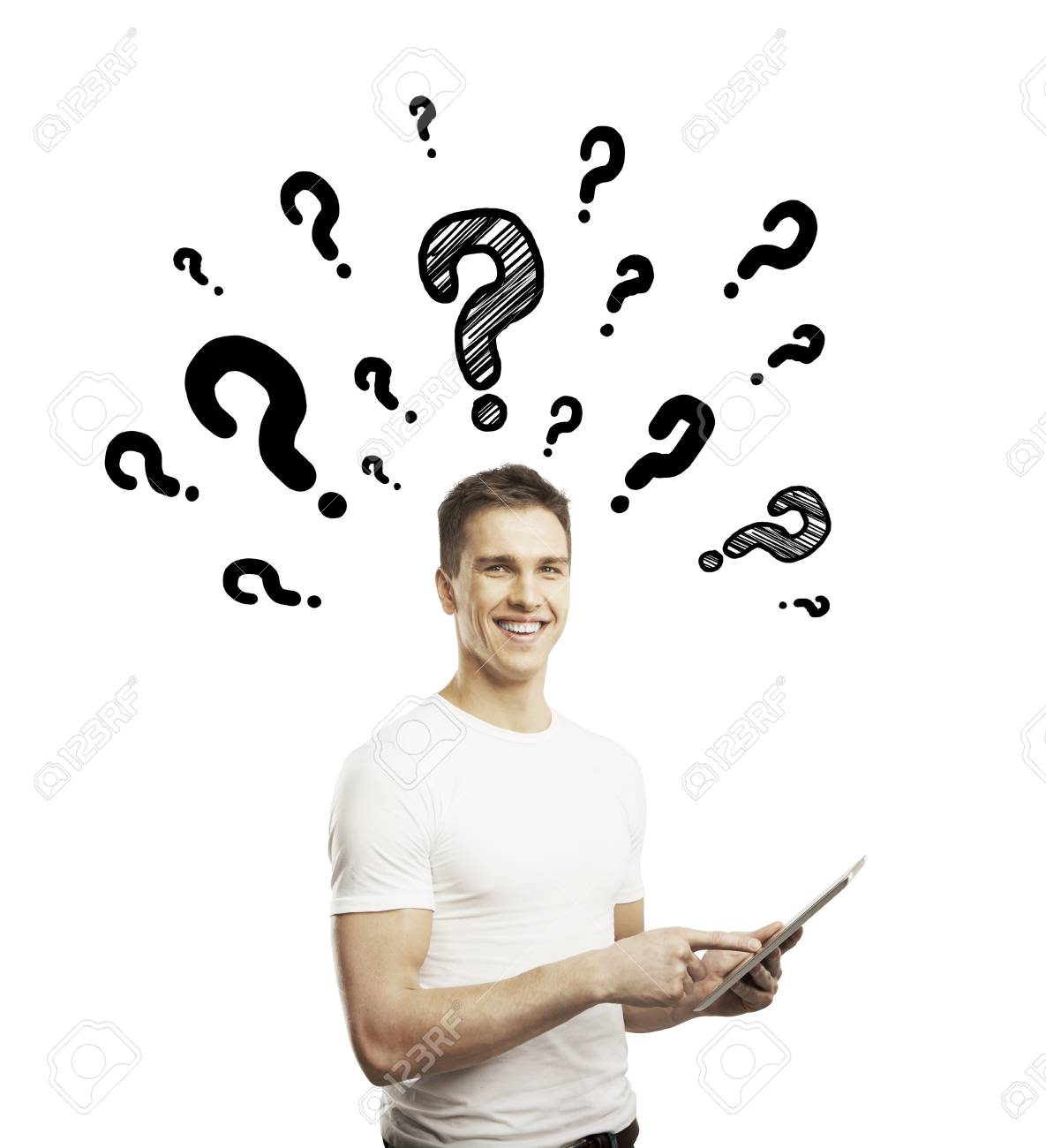 man holding tablet and questions mark Stock Photo - 17250336